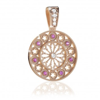 Humilis sterling silver FOCU rose window pendant