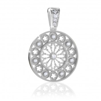 Sterling silver AERE rose window charm