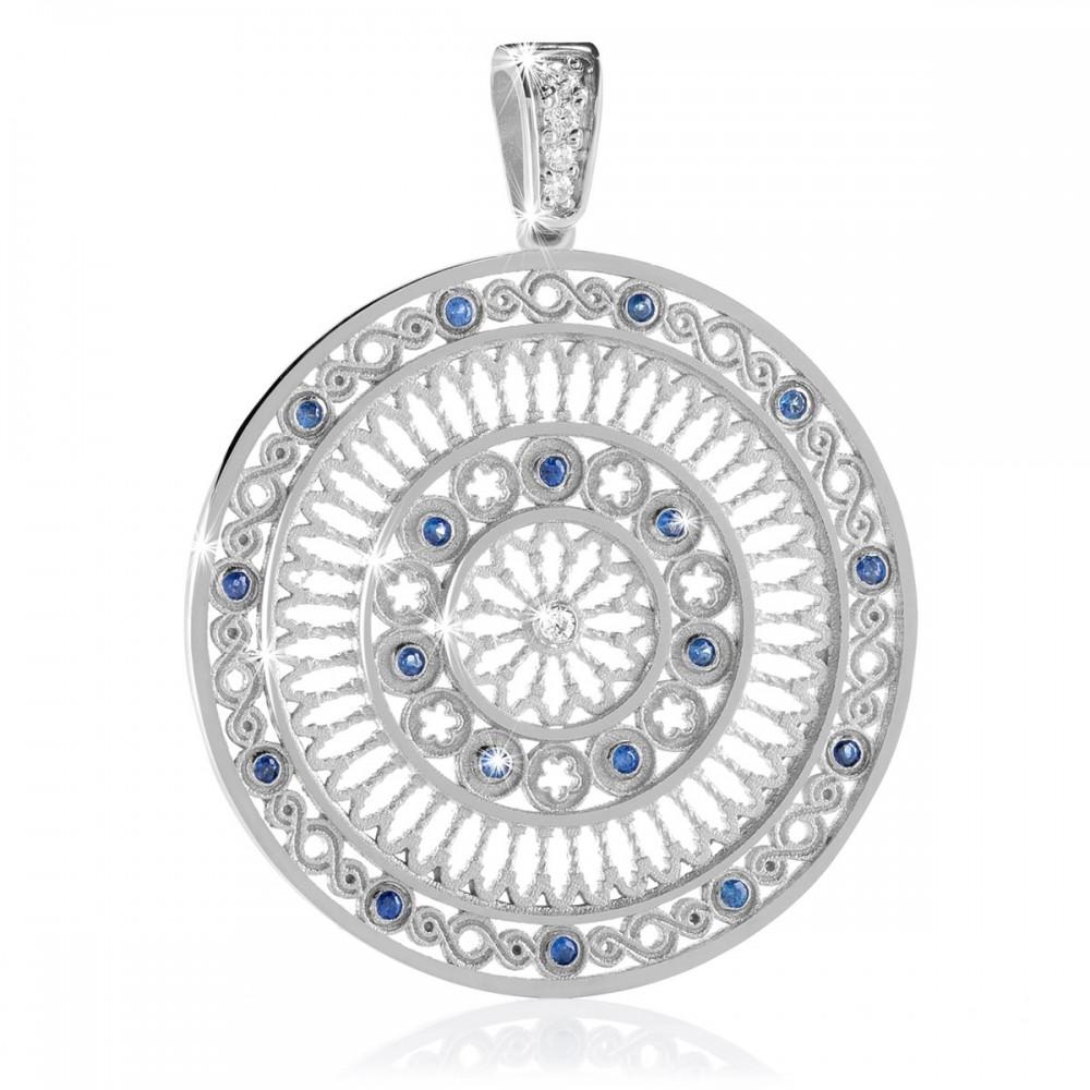 Sterling silver AQUA rose window pendant charm