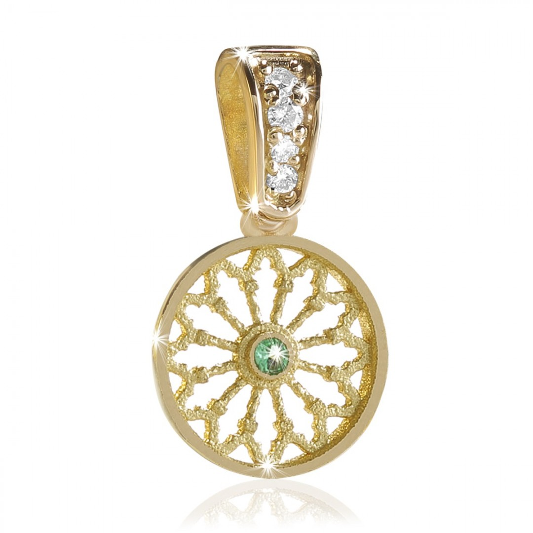 gold TERRA rose window jewel pendant