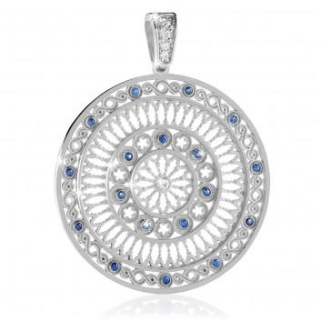 White gold AQUA rose window pendant