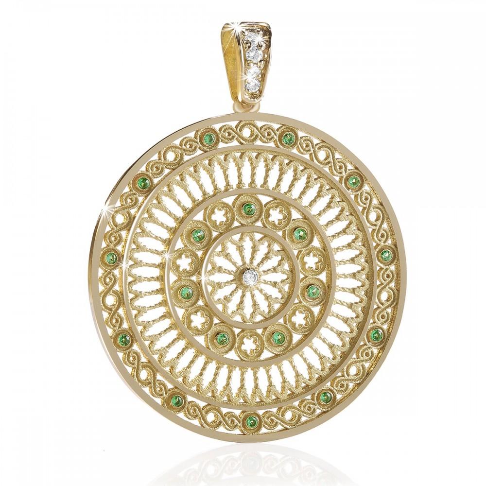 yellow gold TERRA rose window pendant