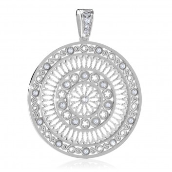 White gold AERE rose window pendant