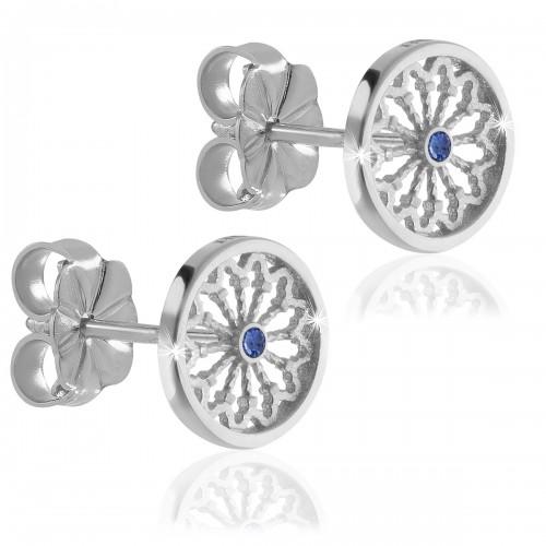 Sterling silver AQUA rose window of Assisi earrings