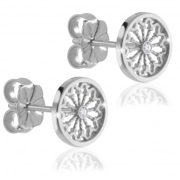 Sterling silver AERE rose window earrings
