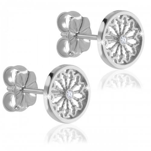Sterling silver AERE rose window earrings
