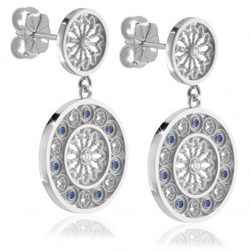 Silver AQUA rose window earrings jewellery