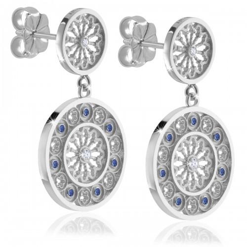 Silver AQUA rose window earrings jewellery