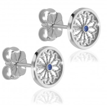 White gold AQUA rose window of Assisi earrings