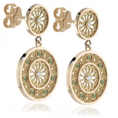 Yellow gold TERRA rose window earrings