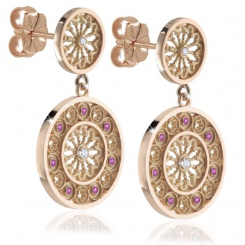 Assisi rose gold FOCU rose window earrings