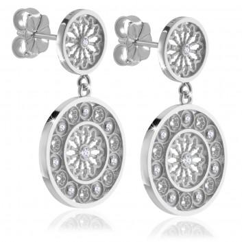 White gold AERE rose window earrings