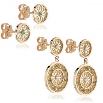 Humilis yellow gold TERRA rose window earrings