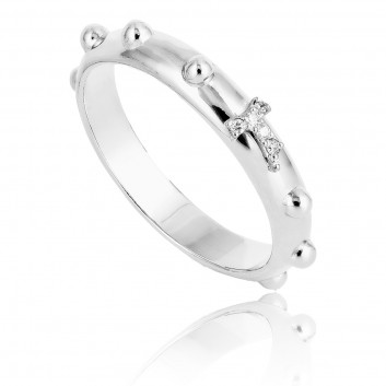 Humilis white gold rosary ring with diamond