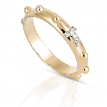 Humilis yellow gold rosary ring with diamond