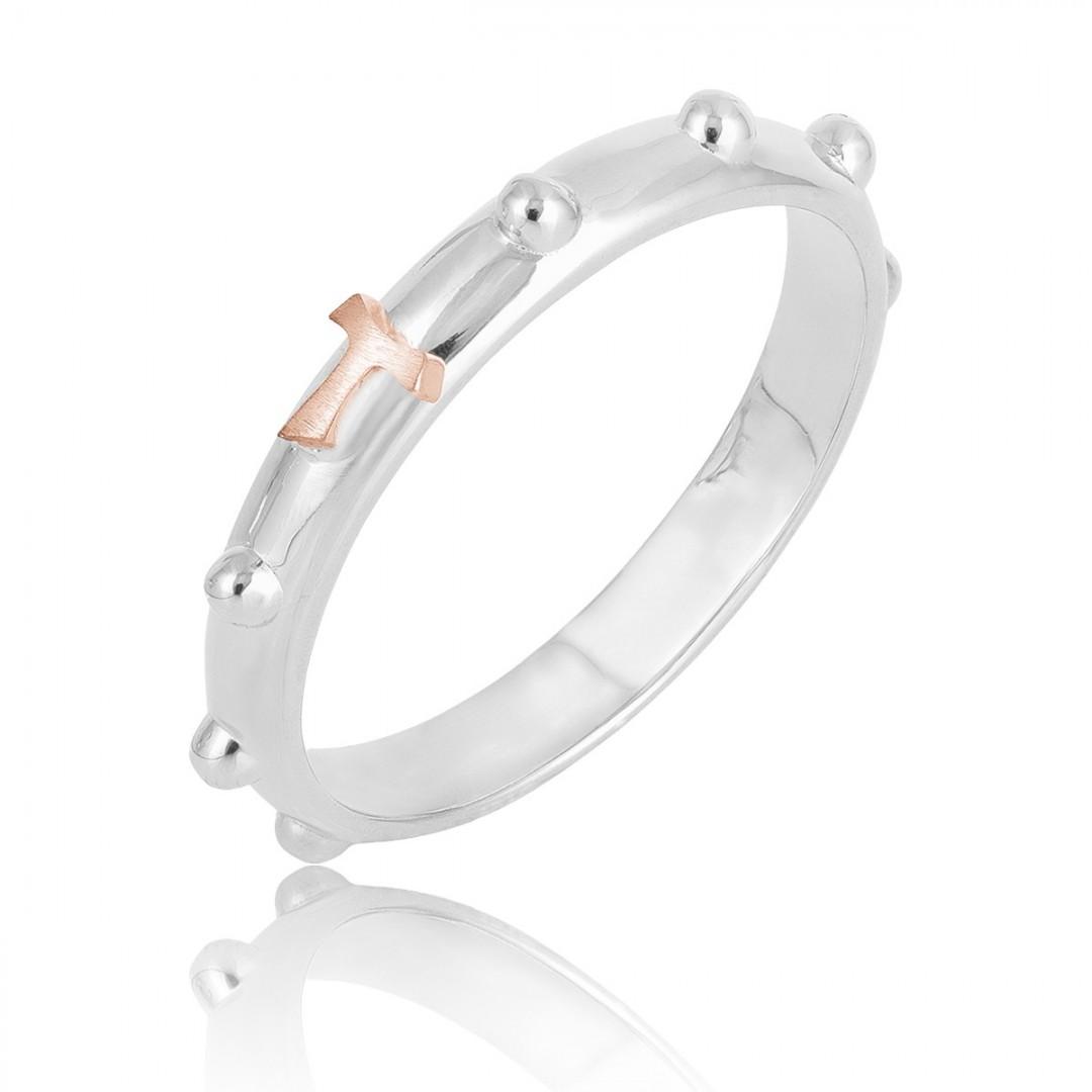Humilis anello rosario in oro bianco