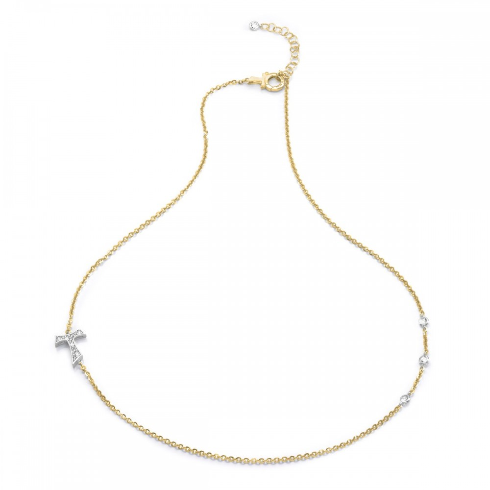 Humilis yellow gold plated sterling silver necklaces with zirconia