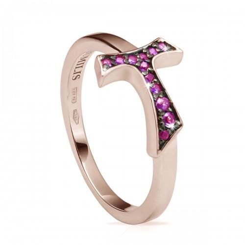 Humilis anello segno FOCU in oro rosa